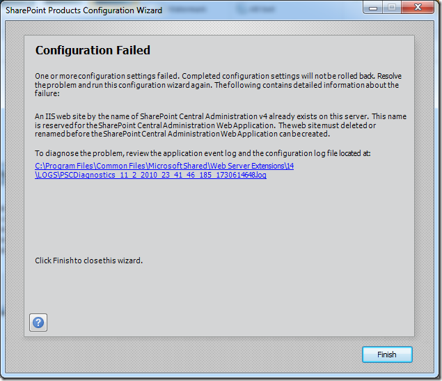 An IIS web site by the name of SharePoint Central Administration v4 already exists on this server (2/6)